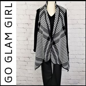 NWT Houndstooth Waterfall Vest Shawl XL